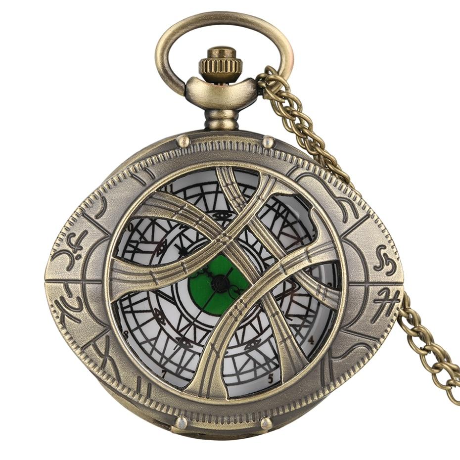 Retro Super Hero Dr. Strange Metal Eye Agamotto reloj de bolsillo de cuarzo bronce Doctor Who collar suéter cadena antiguo reloj regalos