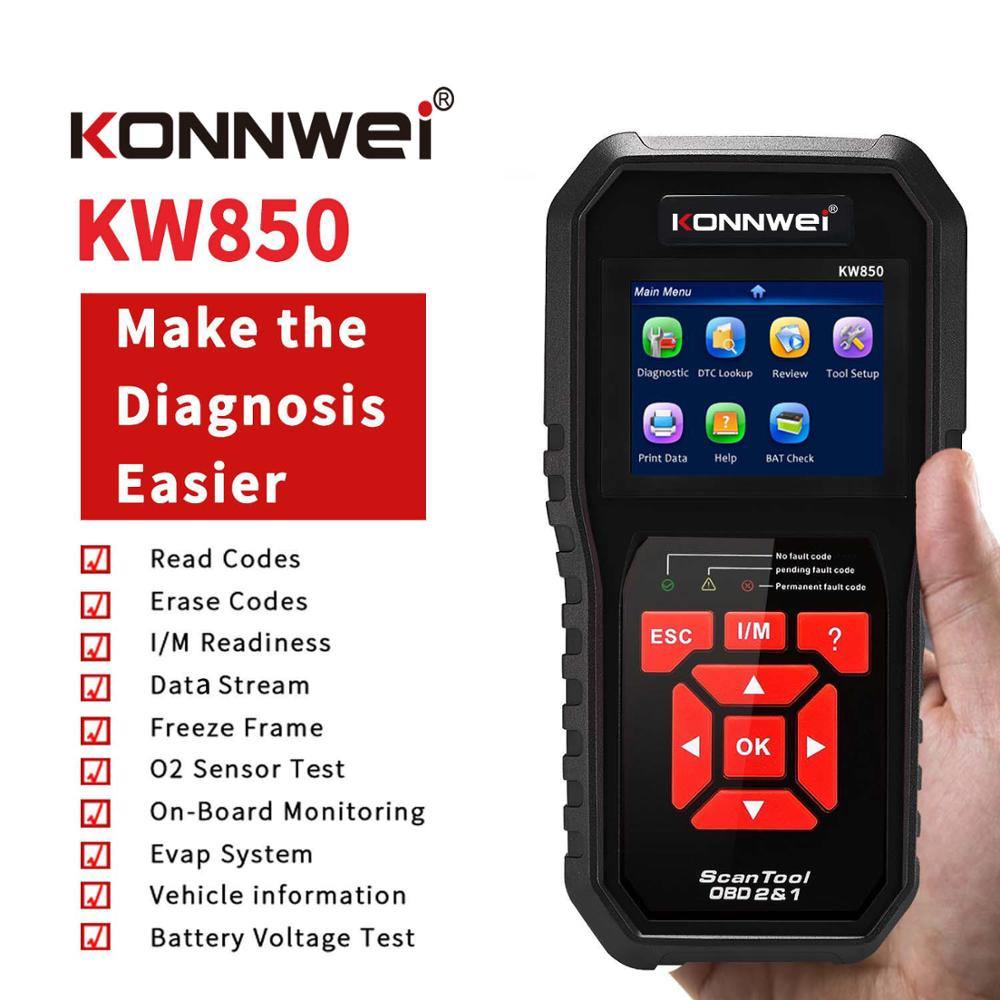 KW850 Professional OBDII Scanner Auto Code Reader Full Function Car Diagnosis OBD2 Car Scanner Universal OBD Engine Code Read autool x50 pro obdii hud obd head up display car speed meter scanner multi function automobile speedometer with fault diagnosis