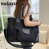 volasss large capacity womens handbag womans lightweight oxford all match bag new korean style fashion mesh girl shoulder bags
