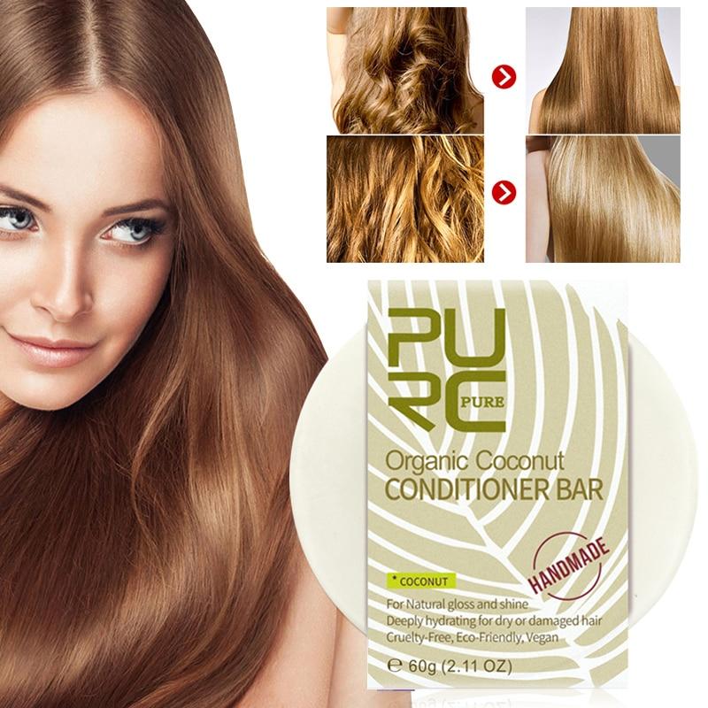 hot PURC Organic Coconut Hair Conditioner Shampoo Bar Soap Natural Restoration Vegan Handmade Repair Damage Frizz Hair Condition