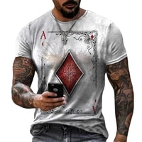 fashion poker lattice square a 3d printed mens t shirt casual round neck short sleeve loose large t shirt top 6xl