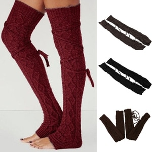 Women Winter Chunky Cable Knit Lace-Up Tie Thigh High Leg Warmers with Strings Autumn Crochet Solid Color Over Knee Long