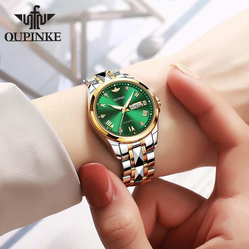 OUPINKE-ساعة ميكانيكية أوتوماتيكية فاخرة من الياقوت للنساء ، ماركة فاخرة ، أزياء نسائية ، أنيقة ، كريستال مصمم