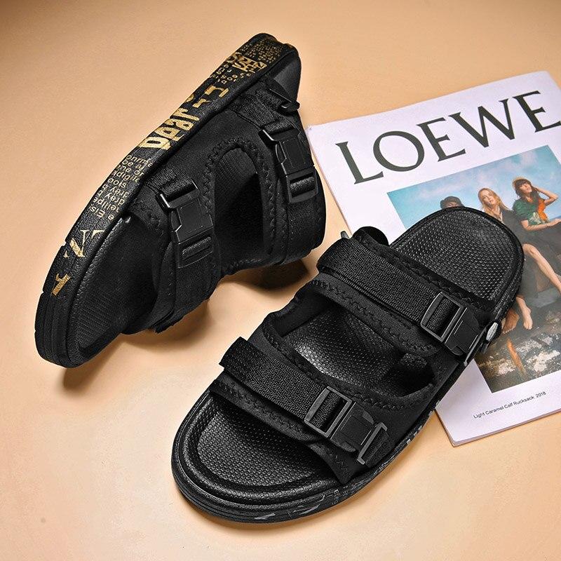 2021 Summer Korean Men'S Beach Sandals Fashion Flip-Flop Velcro Hollow Non-Slip Casual Shoes Size 36-44 Wholesale