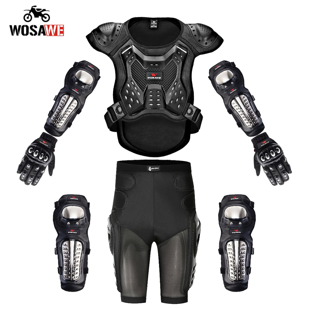 WOSAWE Motorcycle Full Body Protective Armor Adult Protection Gear Motorcross Chest Spine stainless steel Kneepads Elbowpads enlarge
