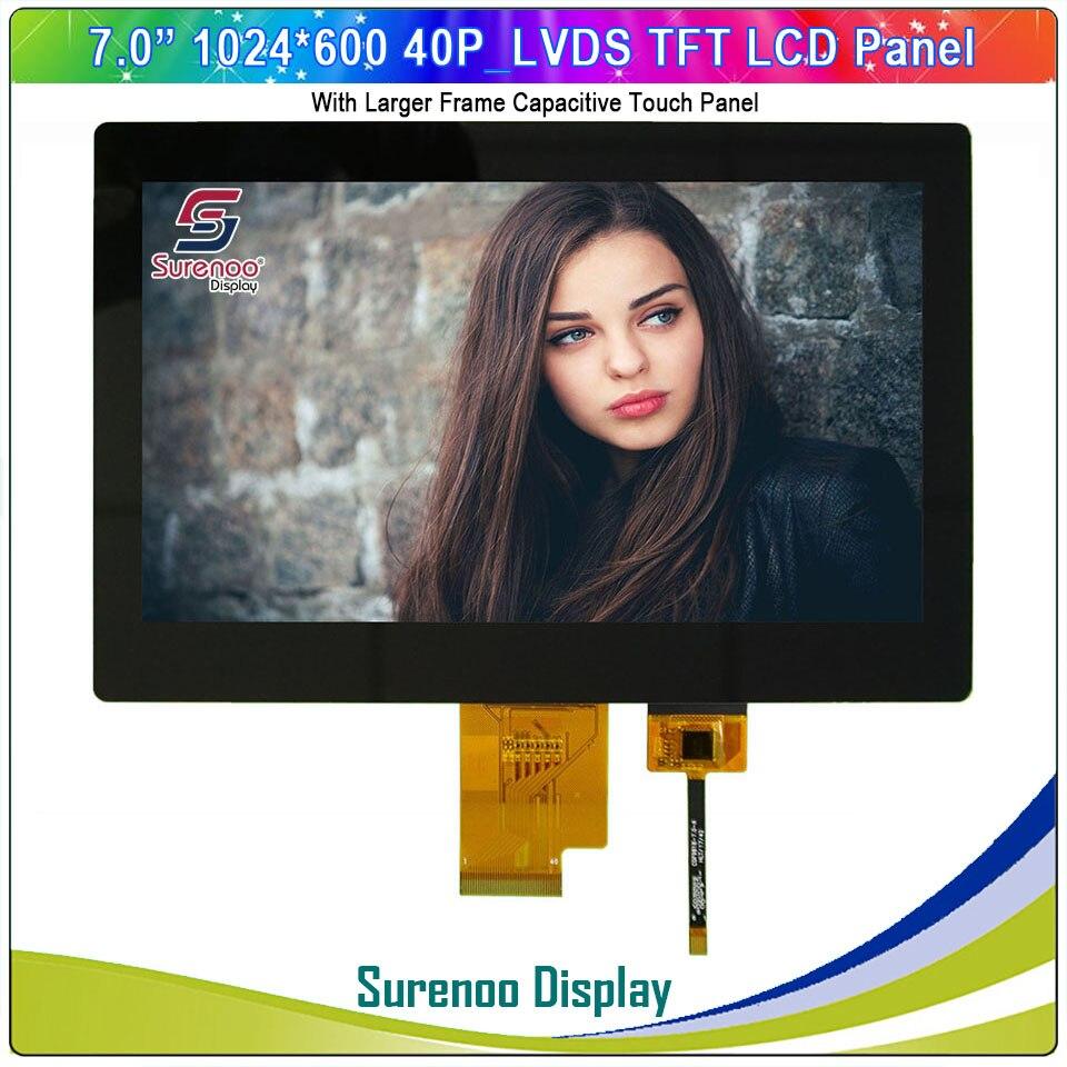 "7 ""/7,0"" pulgadas 1024*600 40g/lvds TFT LCD módulo pantalla Monitor y FT5426 I2C Panel táctil capacitivo"