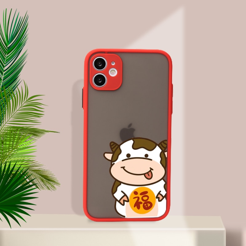 Skin Feel iPhone Cases For iPhone 11 12 Pro Max Mini 7 8 Plus XR X XS MAX Cartoon Cow cellphone case