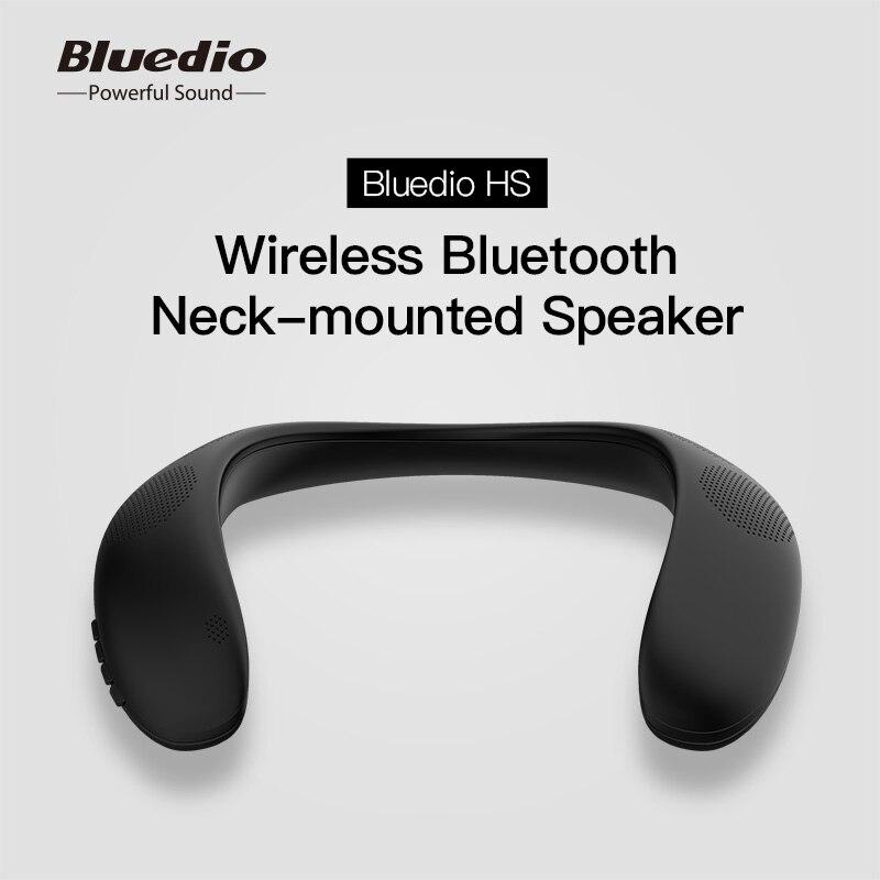 Bluedio hs alto-falante sem fio portátil bluetooth pescoço-montado alto-falante baixo bluetooth 5.0 fm rádio suporte slot para cartão sd