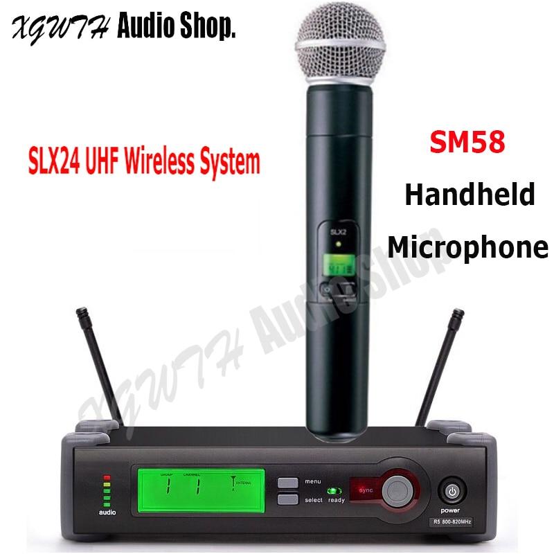 SLX SLX24 SM58 UHF ميكروفون لاسلكي نظام SM 58 اللاسلكي سوبر قلبي الديناميكي يده كاريوكي ميكروفون ل شور كاريوكي DJ