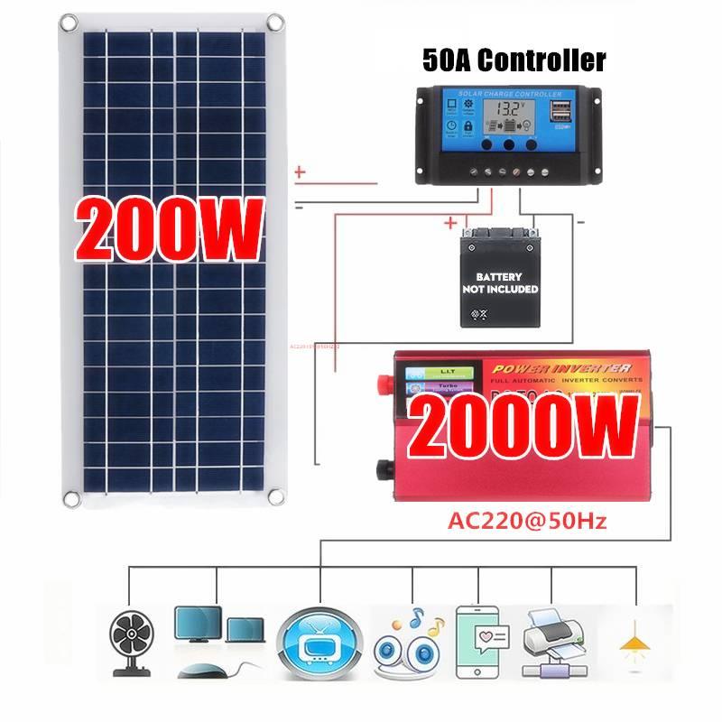 12 فولت/24 فولت نظام لوحات شمسية 18 فولت 200 واط الواح البطاريات الشمسية جهاز التحكم في الشحن 2000 واط الشمسية العاكس عدة كاملة توليد الطاقة