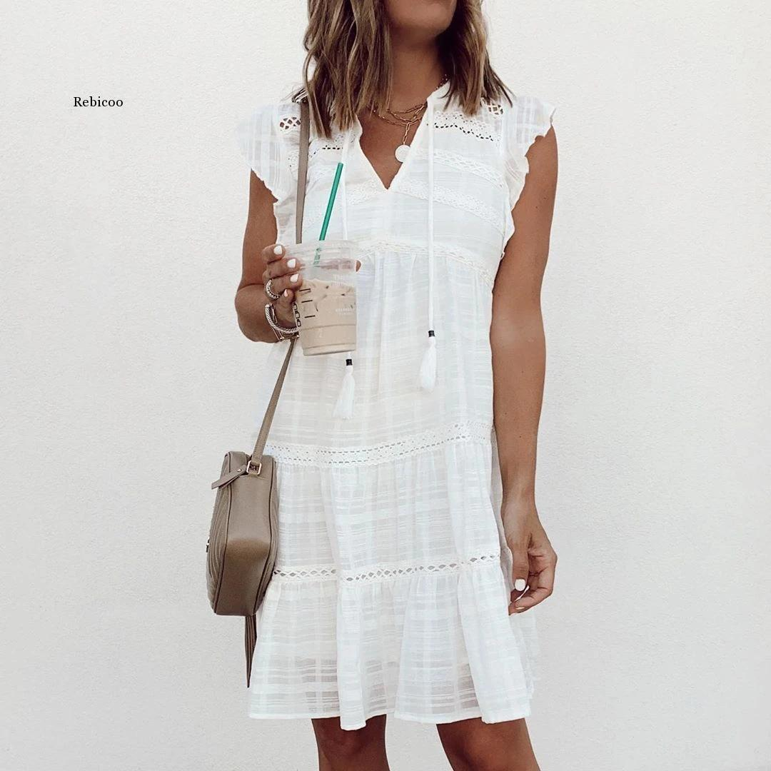 Vestido de verano corto de algodón liso con Manga mariposa, cuello en...