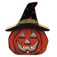 Wooden Pumpkin Skull Lantern Light Lamp Glowing Decorations for Halloween Party Bar Festival E2S