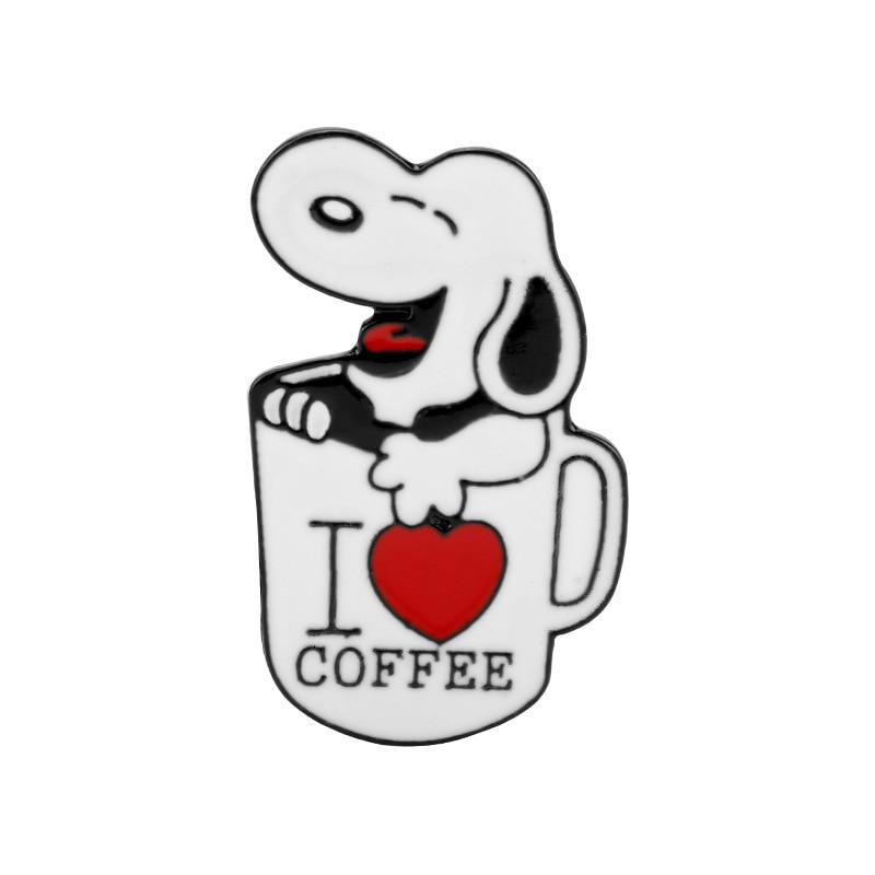 Милая собака, я люблю кофе, эмаль, булавка, Очаровательная одежда, рубашка, значок, джинсы, брошь, модный ювелирный аксессуар, броши для женщи...
