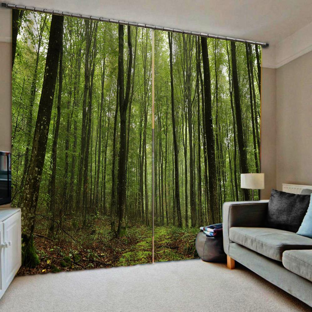 Verde floresta cortinas tamanho personalizado luxo blackout 3d janela cortinas para sala de estar estereoscópico