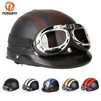 POSSBAY Leather Motorcycle Open Face Half Helmet Outdoor Sport Racing Motocross Goggles Sunglassess Cafe Racer UV Glasses Helmet