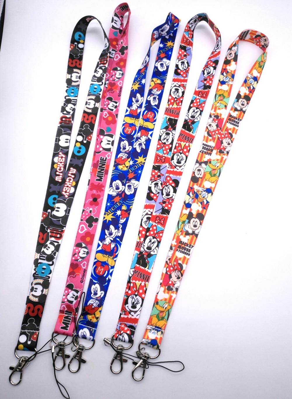 10 pcs/20 pcs/50 pcs cartoon miceky minnie   Lanyard Key Lanyard Cosplay Badge ID Cards Holders Neck