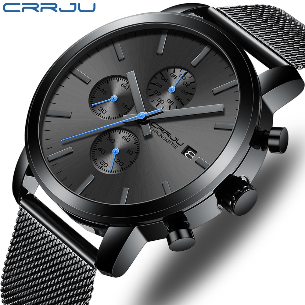 CRRJU Fashion Mens Watches 2020 Luxury Top Brand Quartz Watch Military Sport Mesh Strap Waterproof Wrist Watches Men Relogios yelang v1021 aviator serier t100 tritium tubes flourescent numbers 100m waterproof leather strap mens quartz wrist watch