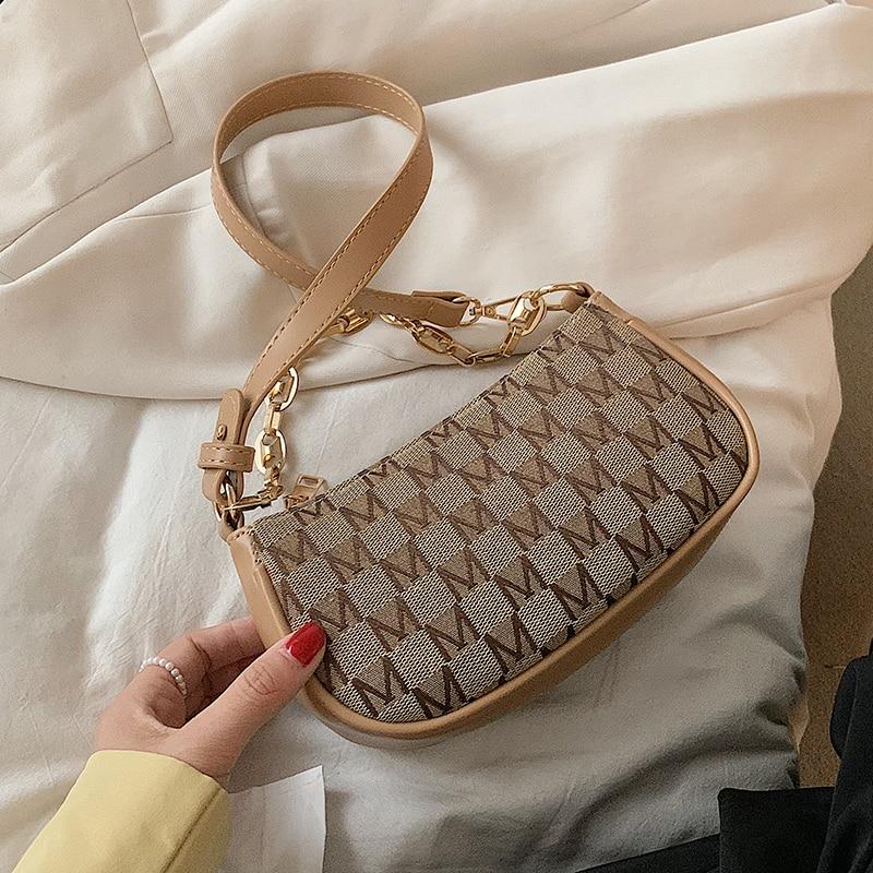 Retro Letter PU Leather Armpit Baguette Crossbody Bag for Women 2021 Chain Shoulder Handbags and Pur