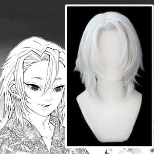 Anime Comic Demon Slayer Kimetsu no Yaiba Cosplay Wigs Uzui Tengen Cosplay Wig Heat Resistant Synthetic Wig White Straight Adult