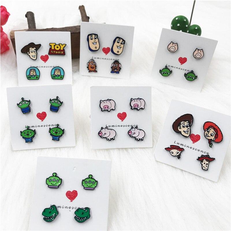 EUPNHY, 1 par, pendientes de dibujo Alien, Woody, pendientes de tuerca, pendientes sin alergia, espárragos para mujeres, adolescentes, regalos de joyería
