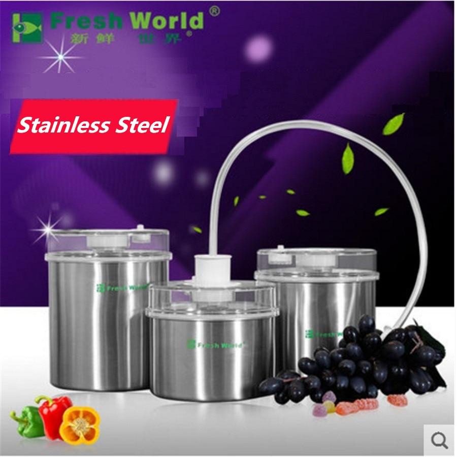 الفولاذ المقاوم للصدأ الغذاء تخزين فراغ الحاويات علبة حفظ الطازجة 1300 مللي 1000 مللي 700 مللي باليد السدادة مضخة Onsale الخلاء