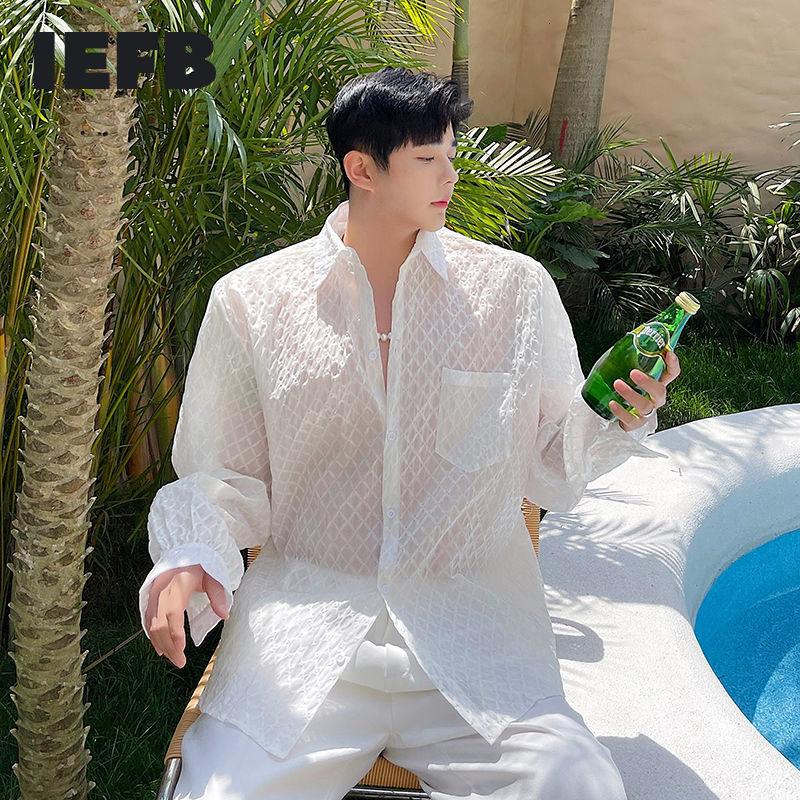 IEFB الرجال رقيقة واقية من الشمس قميص طويل الأكمام تنفس القمصان التلبيب انظر من خلال المتضخم الملابس البيضاء واحدة الصدر 9Y7761