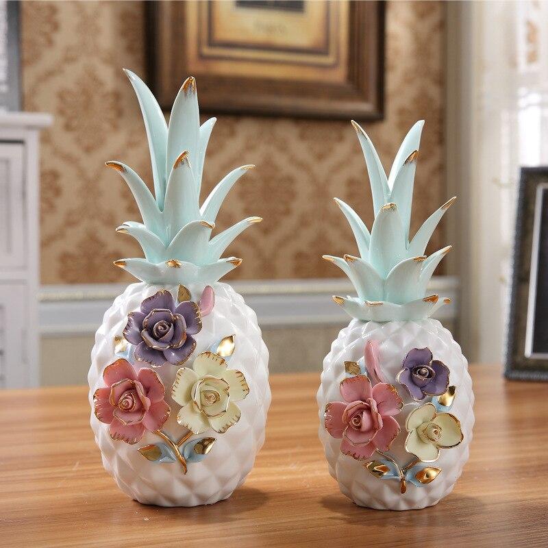 Colorido mosaico flor cerâmica abacaxi miniaturas estatuetas artesanato de frutas para o ano novo casa decoracion x4053