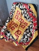 mandala flower print 100 silk sand washed twill scarf scarves shawl coat wraps ponchos and capes 136136cm
