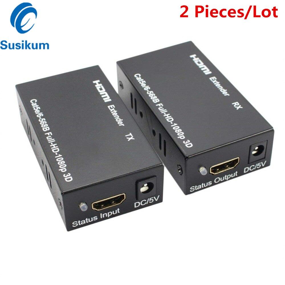 1 пара 1080P FHD HDMI-совместим с RJ45 60M расширитель сплиттер передатчик приемник через Ethernet CAT 5E/6 для ТВ ПК ноутбука HD ТВ