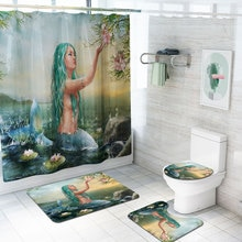 Long-haired Beautiful Mermaid Waterproof Shower Curtains Set Bathroom Decor Curtains Pedestal Rug To