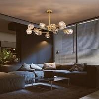 modern all copper chandelier living room crystal decoration led suspension lamp luxury hotel bedroom interior lighting fixtures