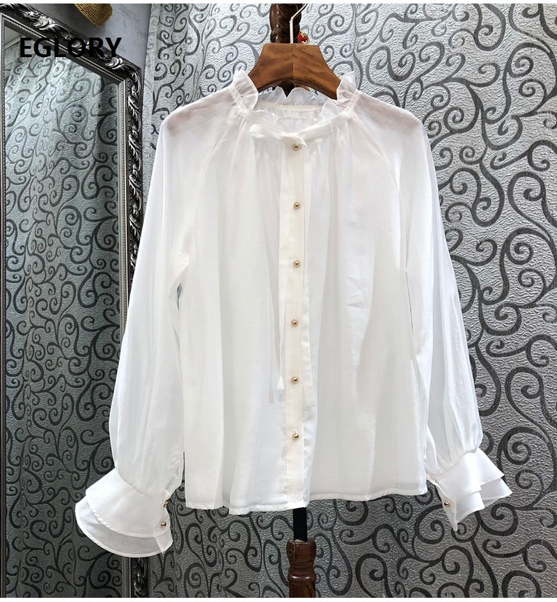 High Quality Women's Blouse 2021 Spring Summer Fashion Shirts Woman Beading Buttons Long Sleeve Casual White Pink Shirt Loose