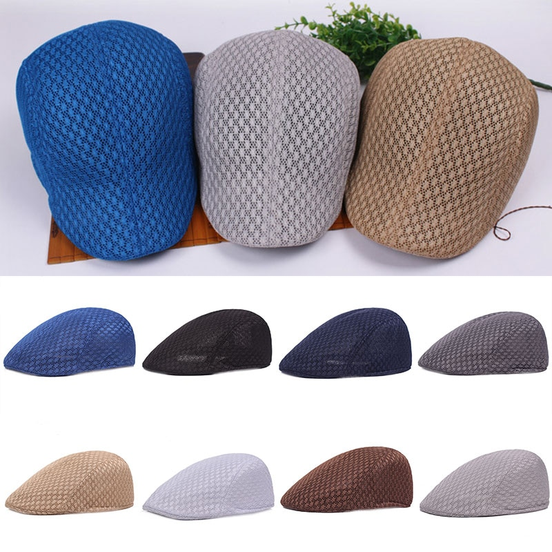 Newsboy Style Adjustable Caps For Men Women Spring Summer Breathable Solid Color Mesh Unisex Casual