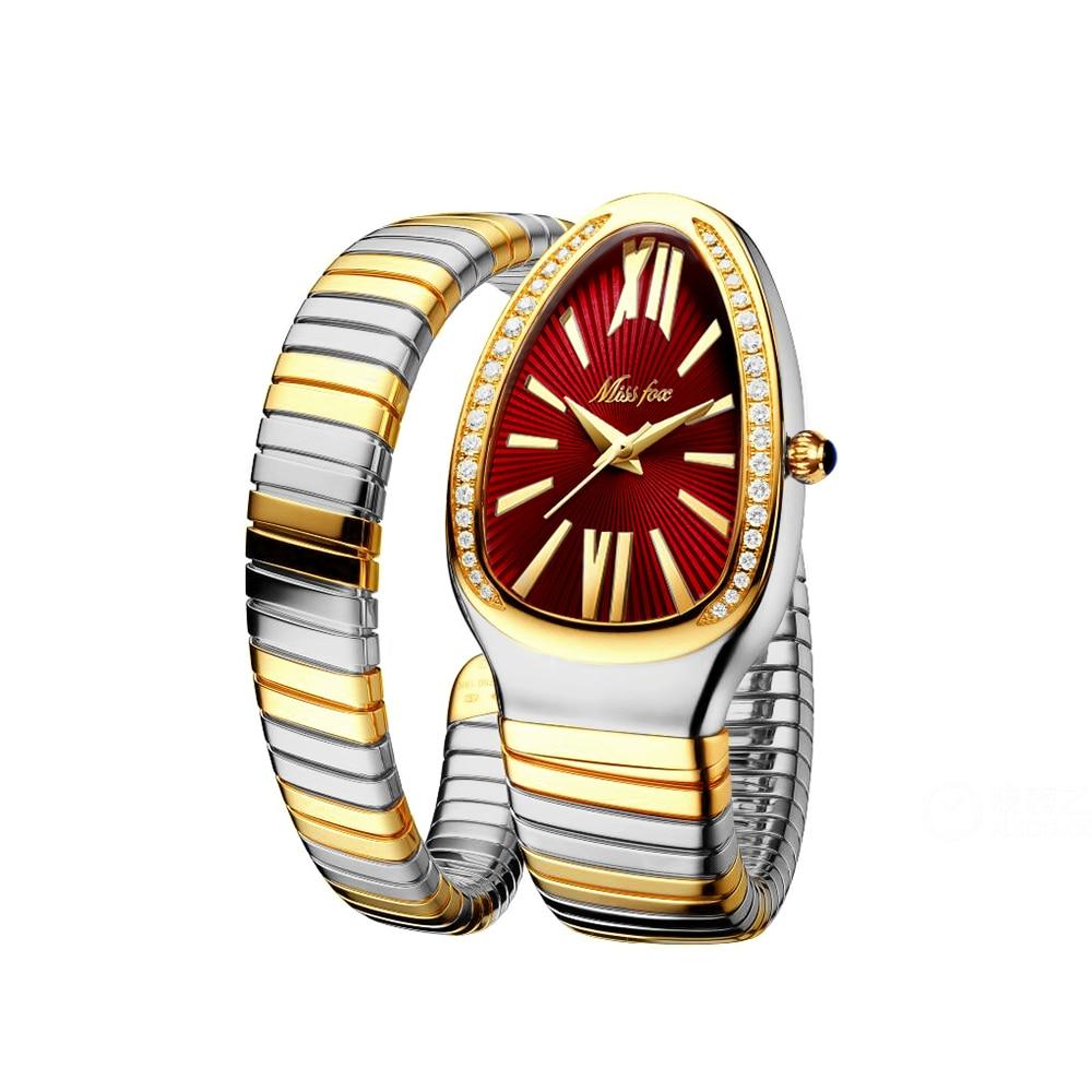ساعة يد نسائية الموضة الفاخرة ماركة Montre فام الذهبي الأفعى شكل ساعة كوارتز هدية عيد ميلاد Reloj Mujer 2021 جديد
