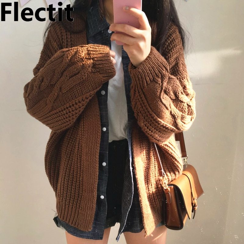 Flectit Women Cable-Knit Cardigans Open Front Long Sleeve V-Neck Cozy Cardigan Sweater Womens Autumn Winter Outfit * 2021 women autumn winter new fashion casual v neck long sleeve loose sweater female twisted knit cardigans open stitch cardigan