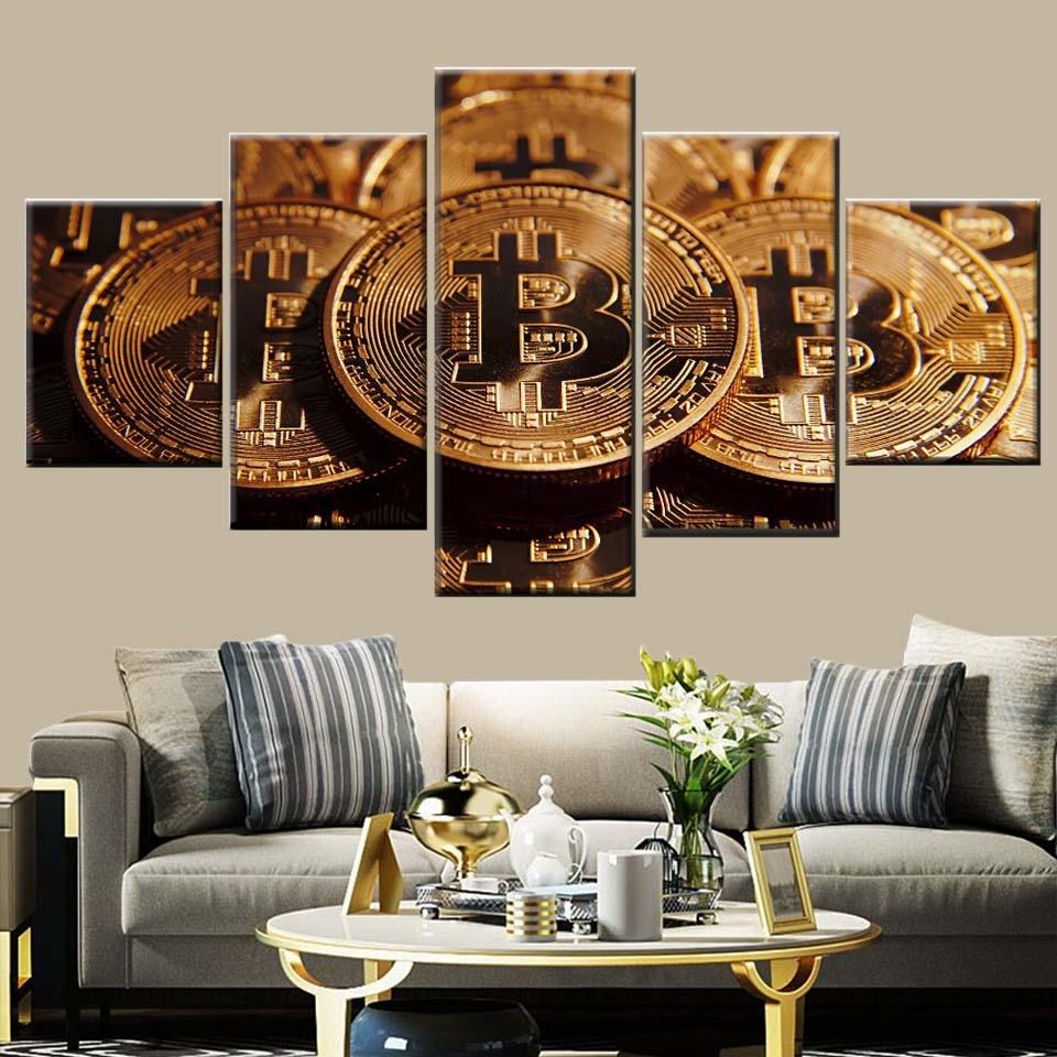 Nordic arte da parede deco 5 peças bitcoin moeda dinheiro pintura em tela tipo de impressão imagem decoração para casa poster arte quadro