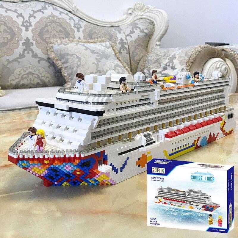 4950 pçs desafio zrk mini blocos tamanho grande navio de cruzeiro modelo construção tijolos cruzeiro forro montagem brinquedos para crianças luxo presente