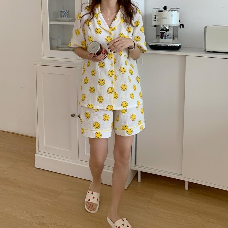 smiley print pajamas set women summer sleepwear 2 piece set turn down collar short sleeve shirts shorts pijamas homewear недорого