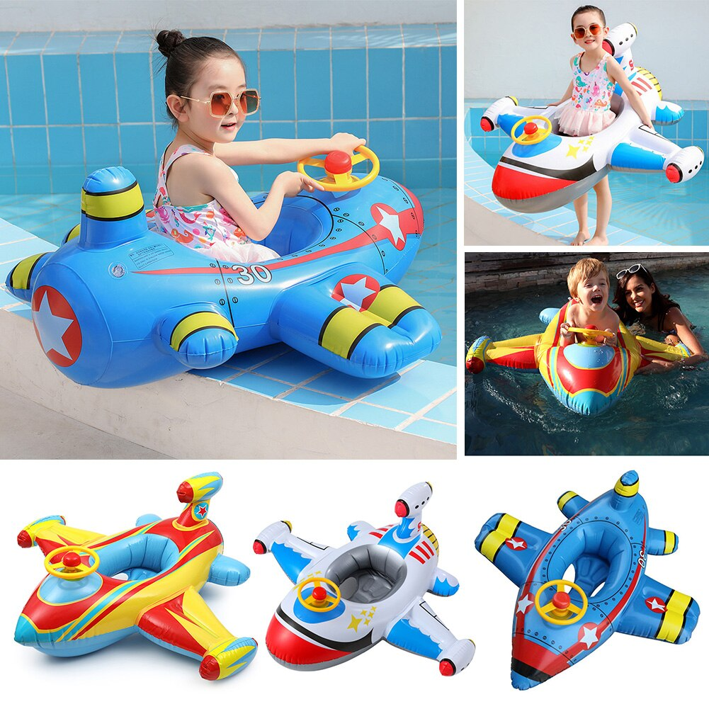 AliExpress - Cartoon Aircraft Baby Swimming Ring Kids Inflatable Pool Float Circle Seat Children Summer Water Bathing Toy