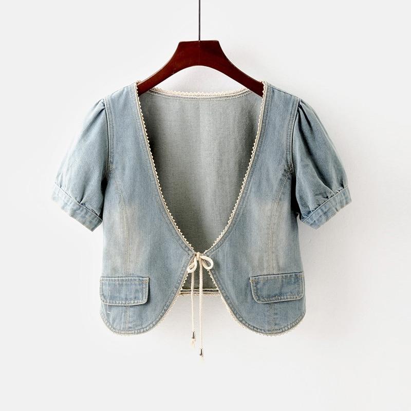 Moda de verano de manga corta chaqueta de mezclilla abrigo chal cárdigan prendas de vestir exteriores de mujer de gran tamaño delgado de encaje hasta cuello pico chaqueta Jean corta