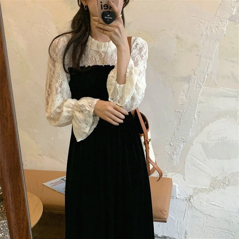 New Lace Vintage Dress Korean Autumn 2021 Female Casual Patchwork Long Sleeve One-Piece Dresses Women O-Neck Elegant Black Dress