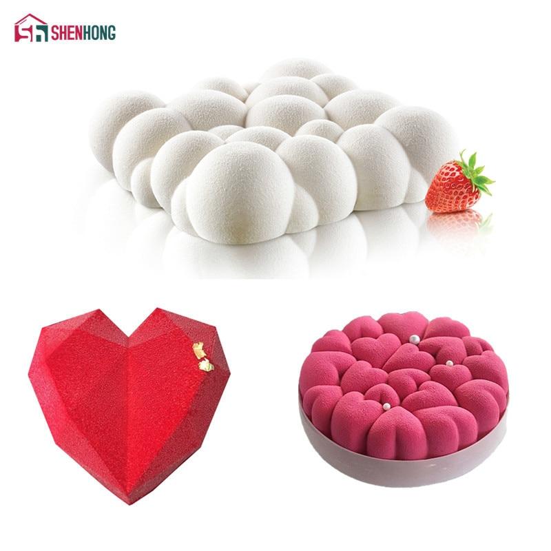 SHENHONG 3 pçs/set Nuvem Bolo Mold Para O Cozimento Do Amor Do Coração Diamante 3D Moule Silicone Pan Molde Mousse de Chocolate