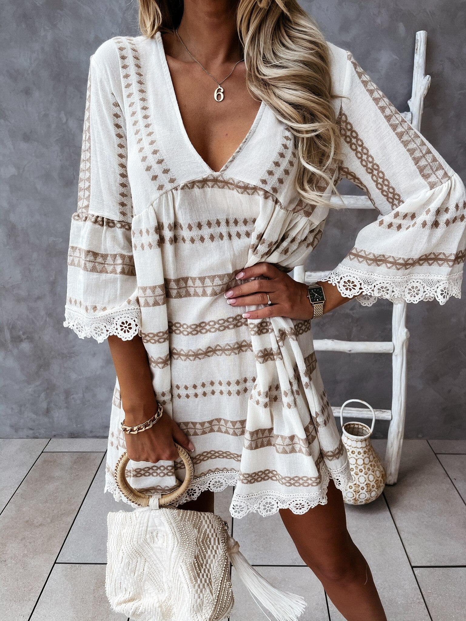 2021 New Summer Lace Dress Women V Neck Long Sleeve Party Vestidos Ladies Fashion Dresses