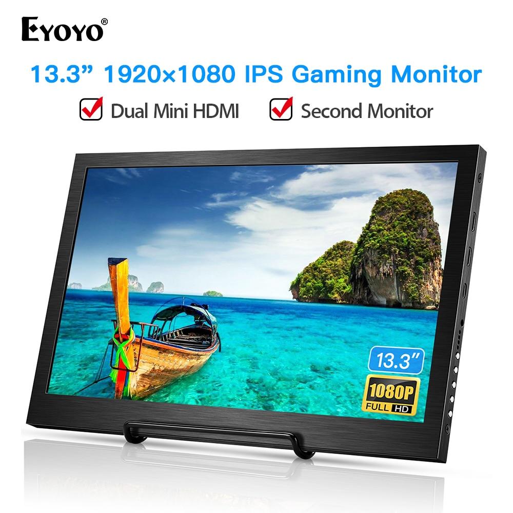 "Eyoyo EM13F 13,3 ""Monitor portátil Mini HDMI de pantalla LCD 1920x1080 pantalla IPS para PS4 Xbox 360 Raspberry Pi Wii U PC"
