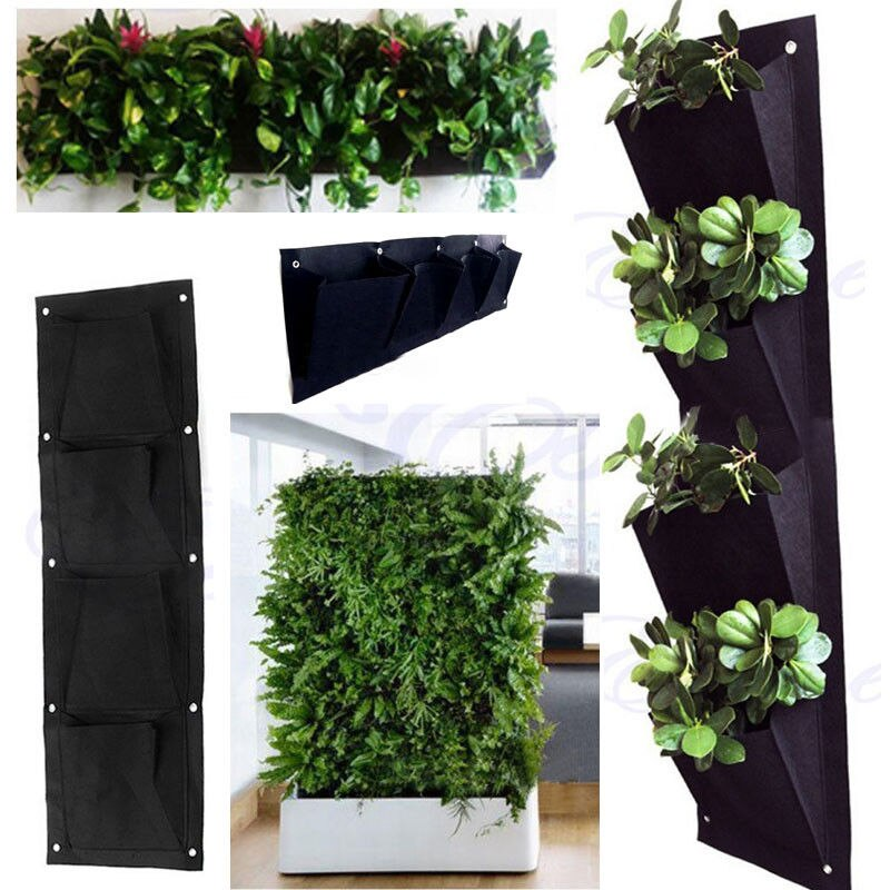 Home Decor 4 Pocket Planting Bag Wall Vertical Greening Hanging Garden Outdoo