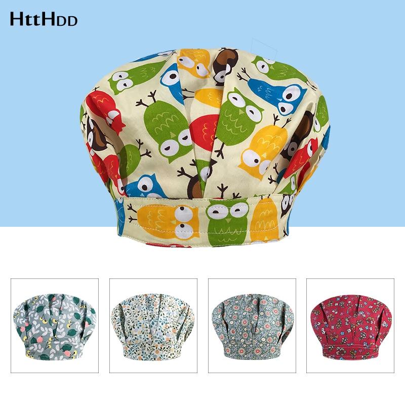 Nueva moda estampado multicolor sombrero mullido ajustable largo cabello FPS sombreros salón de belleza de laboratorio de la tienda de mascotas gorras de fregado Chef sombrero-HP