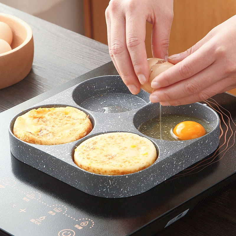 AliExpress - 4 Holes Egg Frying Pan Hamburger Non Stick Pan High Quality Wooden Handle Cooking Pan Cooking Utensils Only Use For Gas Stoves
