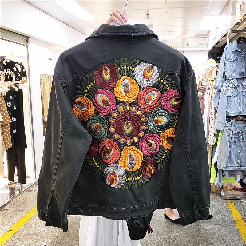 جاكيت جينز نسائي عتيق ، كبير الحجم ، مطرز بالزهور ، نمط رعاة البقر ، أكمام طويلة ، طية صدر السترة غير الرسمية ، ملابس الشارع ، ملابس خارجية