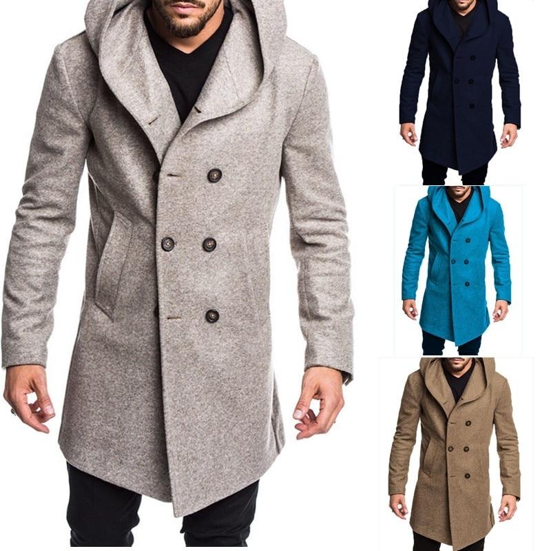 ZOGAA 2019 otoño mezcla de lana para hombre cálido abrigo de lana con capucha informal de alta calidad Trench de lana estilo británico abrigos sólidos delgados