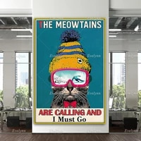 ski skier skiing poster cat lovers gifts meowtains are calling and i must go skiing poster home decor canvas wall art prints